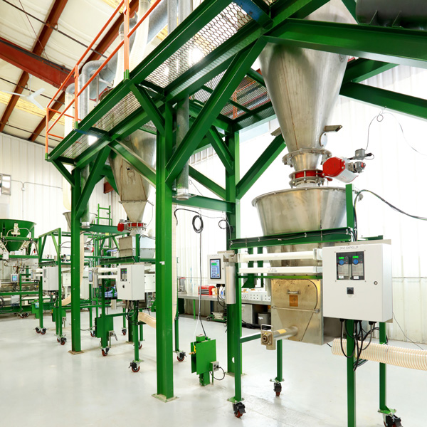 LIW Gravimetric Feeders with mezzanine level supported supply hoppers | Material Testing Center